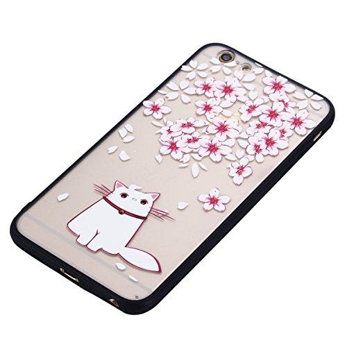 Cover iPhone 6S, Voguecase Custodia Silicone Morbido Flessibile TPU Custodia Case Cover Protettivo Skin Caso Per Apple iPhone 6/6S 4.7(Grande fiore rosa 01) Con Stilo Penna Gatto Bianco 10