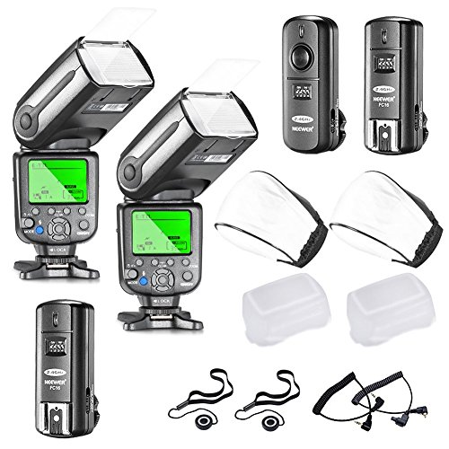 Neewer NW565EX E-TTL LCD Slave Blitz Speedlite Set für Canon DSLR Kamera, enthaltet: (2)NW565EX Blitz, (1)2,4 GHz drathloser Auslöser mit C1/C3 Kabel, (2)Soft&Hard Diffusor, (2)Objektivdeckel Halter