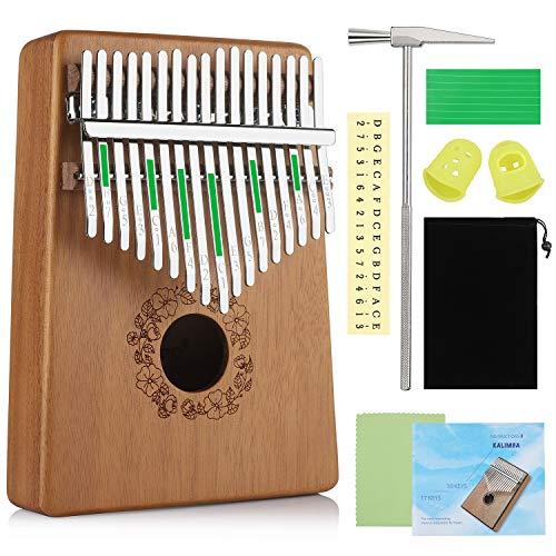 Anpro 17 Schlüssel Kalimba Daumenklavier Marimba, Mahagoni-Daumen-Klavierinstrument mit Stimmhammer, Holz Finger-Klavier für Anfänger Musikliebhaber
