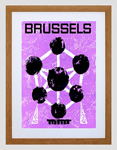 TRAVEL TOURISM BELGIUM LANDMARK BRUSSELS ATOMIUM TOWER FRAMED ART PRINT B12X7916