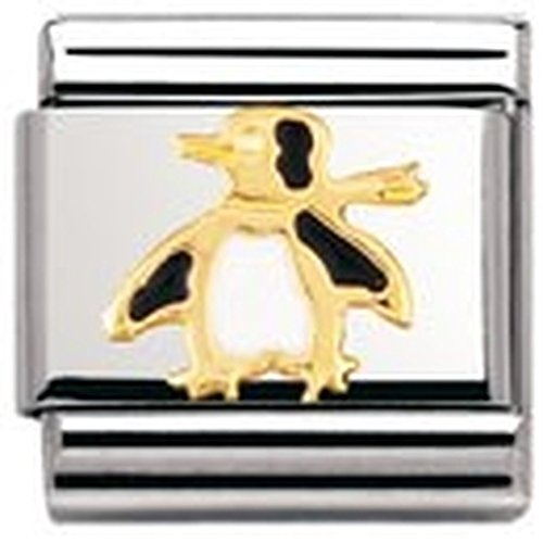 Nomination Composable Classic Water Animals Penguin Stainless Steel, Enamel and 18K Gold