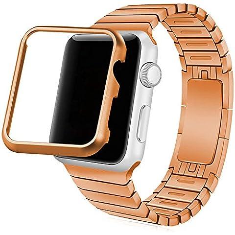 Cinturino Apple Watch, Bandmax 42MM Placcato Oro Rosa Link Bracciale in Acciaio con Chiusura a Farfalla Banda Strap Band per Apple Watch Series 1/ Series 2 42MM Tutti i Modelli (Rosa) - 4 Link Bracciale In Oro