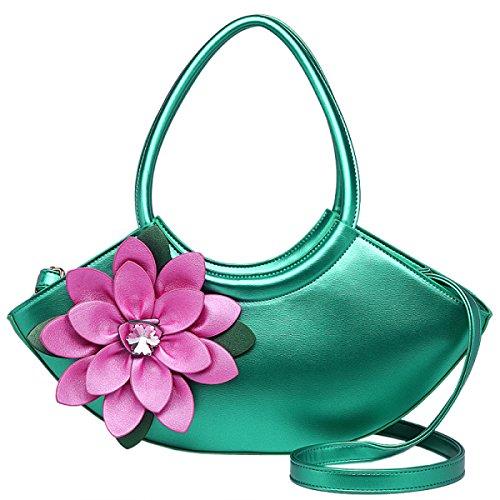 QPALZM QPALZM 2017 Frau Handtasche Nationalen Blumenbeutel Diamantbohrgerät Schulter Messenger Mode Handtaschen Green
