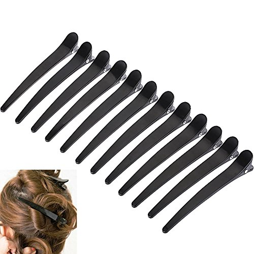SLIV ERC OCTOCOLOR Lot de 12 pinces à cheveux à dents de canard feuilles de carte Crocodile Barrette à Cheveux Hair Clips Pinces en plastique noir