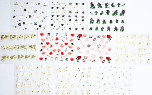 10pcs/package ongles autocollants décalques conceptions multi mélanger y compris les raisins de paillettes / fleurs en noir et blanc / fleurs blanches avec autocollant d'ongle d'or / s de valentine avec le coeur / cupidon / amant / français décalques / etc ongles semi-pâte.