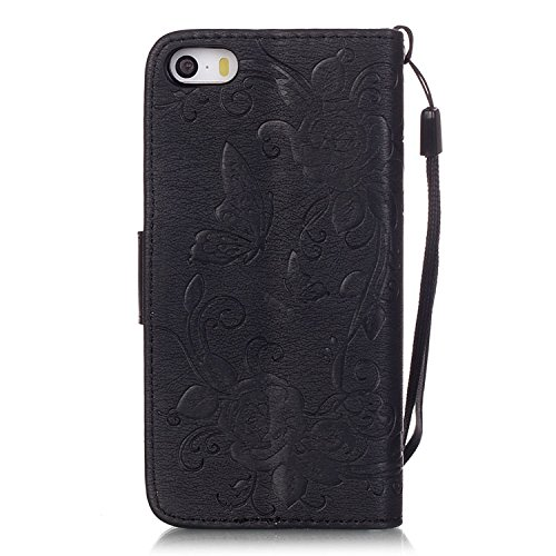 iPhone Case Cover emobssing schmetterling harz für pu - leder aus strass fall mit seil und karten - slots für apple iphone5 iphone5s 5se iphone6 / 65 / 65 plus iphone6 ( Color : Dark-blue , Size : IPh Black