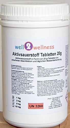well2wellness Aktivsauerstoff Tabletten 20g/Sauerstofftabs/O²-Tabs 20g chlorfrei - 1,0 kg