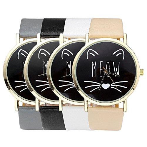 JSDDE Uhren,Vintage Damen Uhr Cute Katze