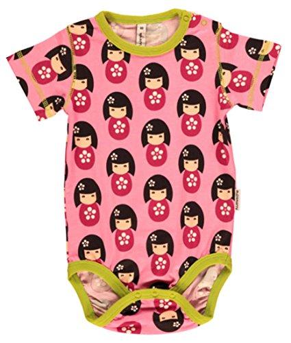 Maxomorra Baby bambina body a maniche corte Doll bambola rosa cotone biologico GOTS Rosa (Doll) 56 cm