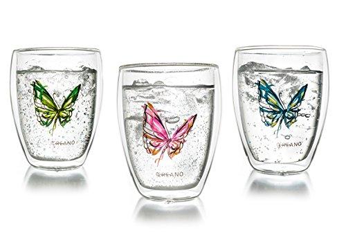 Schmetterling Thermogläser 3-er Set - Latte Macchiato Glas