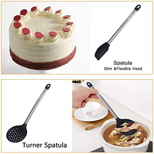 GOAMZ 9 Pezzi Utensili da Cucina,Set Utensili Cucina Silicone AntiGraffio Pentole Professionali con Porta, Acciaio Inox Antiaderente Resistente - 3