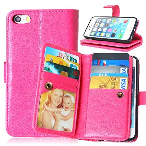 Coque de Protection pour Apple iPhone 6s,Etui Housse Luxe iPhone 6, Protectrice Housse étui en Cuir avec Lanyard pour iphone 6 / 6s,Ekakashop iphone 6 / 6s Book Folding Kaki Rétro Style Portefeuille W Rose Rouge 1
