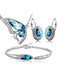 Chooseberry Valentine Collection Rhodium Plated Blue Crystal Combo Jewellery Of Necklace Set / Pendant Set With...