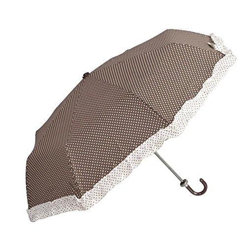 Clayre & Eef W5PLUF0002CH 5PLUF0002CH Regenschirm Schirm mit Rüsche Punkte Braun ca. Ø 98 cm