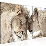 Bilder Löwen Liebe Wandbild 200 x 80 cm - 5 Teilig Vlies - Leinwand Bild XXL Format Wandbilder Wohnzimmer Wohnung Deko Kunstdrucke Beige - MADE IN GERMANY - Fertig zum Aufhängen 002155b