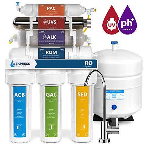 Uv-wasser-filtration-systeme (EXPRESS Wasser roalkuv10m 11Stage UV-UV-+ Alkaline + Umkehrosmose Home Trinkwasser Filtration System 100GPD RO Membran Filter-Modern Wasserhahn, BPA-frei)