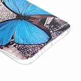HTC ONE M9 Hülle, HTC M9 Case, Greetrass Weichem Silikon TPU Bumper Case Ultra Dünne Schutzhülle für HTC ONE M9 Handyhülle Handy Tasche Back Cover Rückseite Etui Schutz Schale mit Blau Schmetterling Muster -