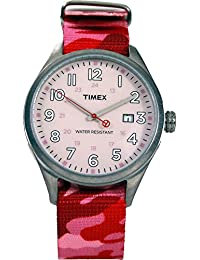 Timex–t2N350cp–Originals Damen-Armbanduhr 045J699Analog beige Armband Nylon rot