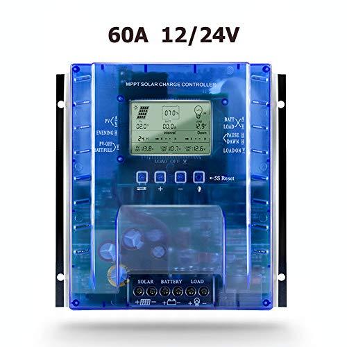 SolaMr 60A MPPT Solarladeregler 12V/24V Intelligenter Solarpanel-Batterie Laderegler mit LCD-Display und Doppeltem USB-Anschluss - P60A