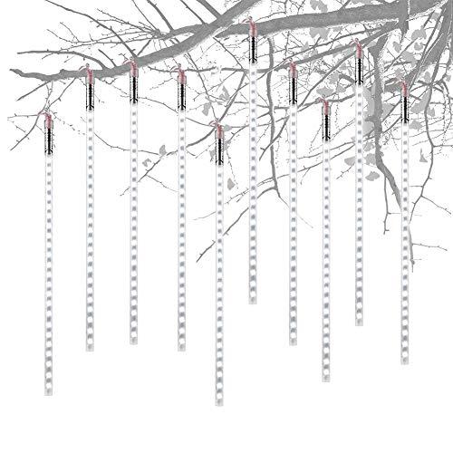 Eiszapfen-lichterkette (Aufgerüstet Meteorschauer Regen Lichter,Super hell Lichterkette Eiszapfen LEDs Wasserdichte Schneefall Lichterkette für Draussen/Innenraum/Garten/Weihnachten Dekoration (Weiß-40CM))