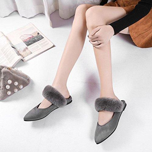 Scarpe da donna,Jamicy scarpe basse casuali della decorazione della peluche della decorazione di modo delle signore Grigio