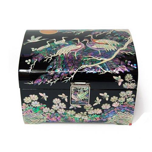 Mother of Pearl Boîte à bijoux de style Oriental faite à la main en forme de grue Gift. &Paysage