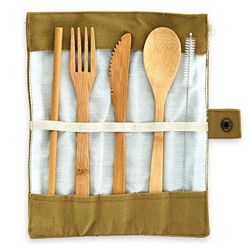 Bambuswald Besteck (Löffel, Gabel, Messer & Strohhalme) aus 100% Bambus - ökologisches - Testsieger Grillbesteck