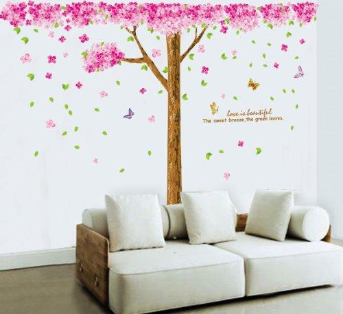 SODIAL(R) arbol de la flor de cerezo rosada enorme Vinilo paRojo de la decoracion etiqueta Mural Decal