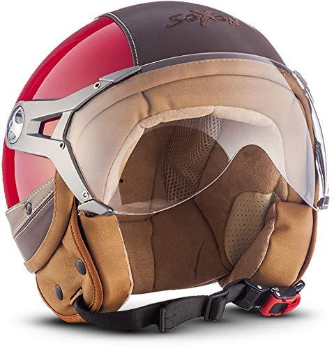 SOXON SP-325-URBAN Red · Vespa-Helm Bobber Chopper Mofa Biker Retro Scooter-Helm Roller-Helm Jet-Helm Pilot Motorrad-Helm Helmet Vintage Cruiser · ECE zertifiziert · Leder Design · mit Visier · inkl. Stofftragetasche · Rot · S (55-56cm)