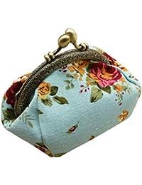 Blue : Culater® Women Retro Vintage Flower Small Wallet Hasp Purse Clutch Bag (Blue)