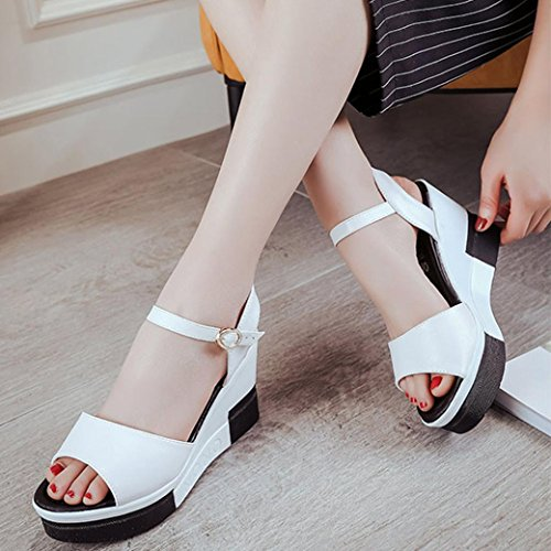 Damen Peep-Toe High Schuhe Römische Sandalen, Kaiki Sommer Sandalen  Wasserdichte Plattform Frauen Schuhe ...