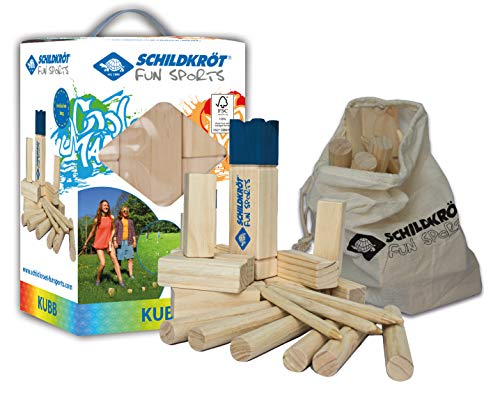 Schildköt Kubb Schwedenschach, das beliebte Gartenspiel aus Skandinavien, komplettes Set aus FSC zertifiziertem Holz, inkl. Tragetasche zur Aufbewahrung, 970112