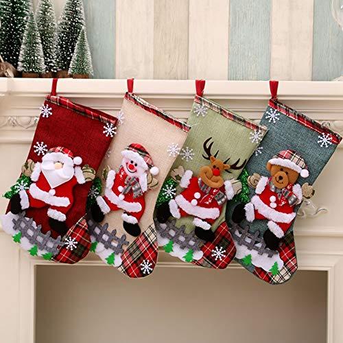 Medias de Navidad Bolsa de Regalo Medias de Navidad para el árbol de Navidad Chimenea Decoración Colgante...