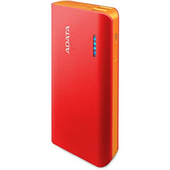ADATA PT100 10000mAh Dual Output Fash Charging 3.1A Portable Charger Power Bank for Smartphones and Tablets - Red (APT100-10000M-5V-CRDOR)