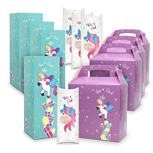 12er Set Geschenkbox / Geschenkverpackung Einhorn in drei verschiedenen Farben, Formen & Größen