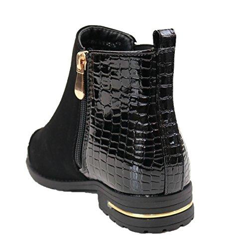 Bottines femme Noir simili Cuir & daim à zip doré- Noir