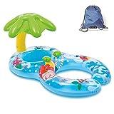 Jct gonflable Flotte double personne Maman et bébé, piscine gonflable rétractable amovible flotteur de natation Anneau Siège bébé flotteur Anneau Sécurité bébé Float Seat piscine jouet avec auvent, blue&green