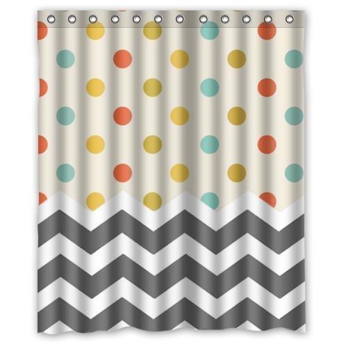 Diseño de líneas en zigzag puntos y de baño Decor resistente al agua, tela de poliéster de ducha cortinas con diseño de lunares Retro y gris blanco de diseño de líneas en zigzag, 60 (w) x 72 (h)