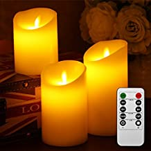 Liqoo® 3x LED Velas Eléctrica de Cera Real Mando con Control Remoto Blanco Cálido con Llamas sin Humo Seguro y Porteger Medio Ambiente Ideal para Iglesias, Fiestas de Compleaños, bodas, veladas, Navidades, etc.