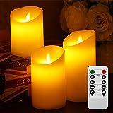Liqoo 3er Set Flammenlose LED Kerzen Echtwachskerze mit beweglicher Flamme Timerfunktion mit Fernbedienung Elektrische Batteriebetriebene Kerze Lampe Schlafzimmer Wohnzimmer Deko für Hochzeit, Geburtstags 10cm 12,5cm 15cm Hoch