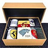 Game of Thrones–Geschenkkorb 1–mit 4sortiert Keramik Tassen, und ein Set von 4Untersetzer