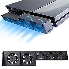 PS4 Refroidisseur Ventilateur - ElecGear Turbo 5 Cooling Fan Ventilateur de refroidissement de Auto contrôle de la température pour Sony PlayStation 4