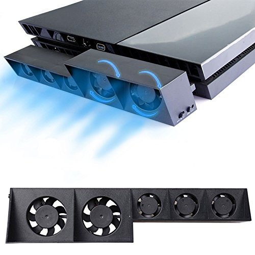 PS4 Turbo Lüfter Ventilator Kühler - Externe Kühlgebläse USB 5 Cooling Fan Cooler Auto Luftzirkulation Kühlung Temperatur Schutz für Sony PlayStation 4 Konsole