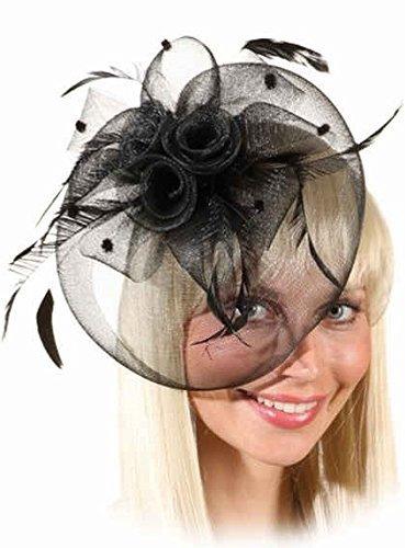 Damen schwarz Feder Rennen Beerdigung Halloween Mini Hut Kostüm Kleid Outfit Zubehör (Beerdigung Kostüm)