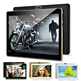 Kivors 10,1 Zoll 4G Google Android 7.0 Tablet, Quad Core Dual SIM Kartenschlitz Dual Kamera Ultra Slim Tablet PC Bluetooth 4.0 1G+16G HD 1280 x 800 schwarz A101 Black