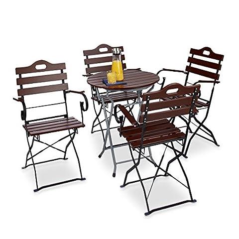 Relaxdays Chaise de jardin pliante lot de 4 en bois rouge brun nature et métal accoudoir HxlxP: 88 x 51,5 x 45 cm, brun rouge