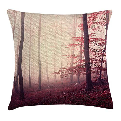 fjfjfdjk Fantasy Marsala Color Foggy Forest Jungle Dreamy Wilderness Woods Sunlight ImageWoodland Throw Pillow Cushion Cover Decorative Square Accent Pillow Case 18 X 18 Inches Maroon Peach (Sex Pillow Hug)