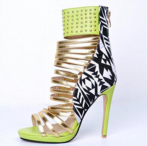 YCMDM Sandales à talons estiraux en cuir vert émeraude cuir de haute qualité Nightclub Party Evening Fashion Shoes emerald green