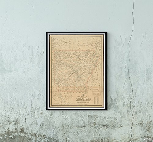 New York Map Company LLC 1903 Karte Arkansas Post Route des Staates Arkansas zeigt Postämter mit der Zwischenzeit des historischen antiken Vintage-Bildes -