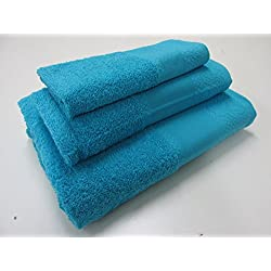 Flor de Algodón Set Toalla 3 Uds. Panama 400 Gr Azul Agua Marina